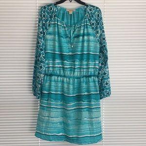 Michael Kors (8) Turquoise Gathered Waist Dress